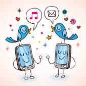 Cell phones tweeting — Stock Vector
