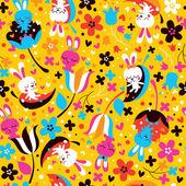 Bunnies & flowers pattern — Stockvektor