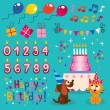 Happy Birthday design elements set — Stock Vector #58680633