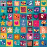 Cute flowers, birds & hearts pattern — Stock Vector #58686607