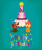 Happy Third Birthday — Stock Vector