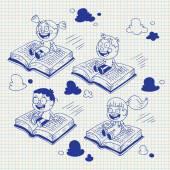 Kids flying on books — Stock Vector