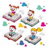 Enfants de vol sur les livres — Vecteur