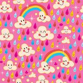 Clouds, rainbows, rain drops pattern — Cтоковый вектор