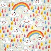 Clouds, rainbows, rain drops pattern — Vetorial Stock