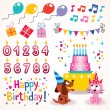 Happy Birthday design elements set — Stock Vector #58691971