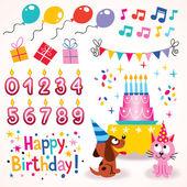 Happy Birthday design elements set — Stock Vector