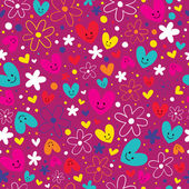 Hearts & flowers pattern — Stock Vector