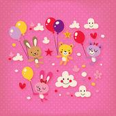 Cute bunnies and bears — Stock Vector
