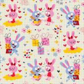 Bunnies & gifts pattern — Vecteur
