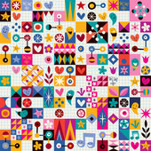 Hearts, stars and flowers abstract pattern — Stock Vector