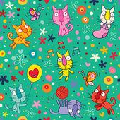 Cute kittens pattern — Vector de stock
