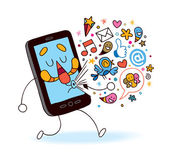 Cartoon mobile phone — Stock Vector