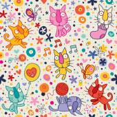 Kittens pattern — Stock Vector