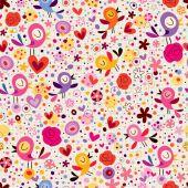 Birds & flowers pattern — Stock Vector