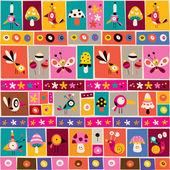 Flowers, birds, mushrooms & snails pattern — Stock Vector