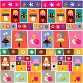 Mushrooms & snails collage pattern — Stock Vector