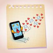 Cell phone sending love messages — Stock Vector