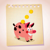 Piggy cartoon illustration — Vector de stock