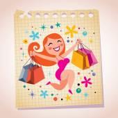 Shopping girl cartoon illustration — Stock Vector