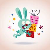 Bunny with presents — Stock Vector