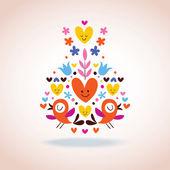 Flowers, hearts & birds illustration — Stock Vector