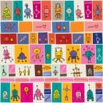 Cute robots cartoon doodle pattern — Stock Vector #58810333