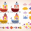 Cute animals in boats set — Stock Vector #58814913