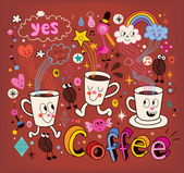 Coffee cartoon illustration — Vetorial Stock