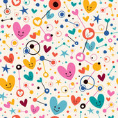 Hearts, dots and stars funky pattern — Stock Vector