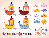 Cute animals in boats set — Stock vektor