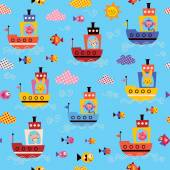 Cute animals in boats pattern — Vettoriale Stock