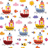 Cute animals in boats pattern — ストックベクタ