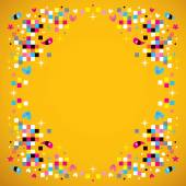 Fun pixel squares frame border — Stock Vector