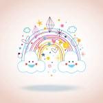 Cartoon rainbow clouds hearts diamonds — Stock Vector #58829087