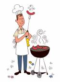 Barbecue chef — Stock Vector