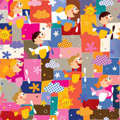 Children in airplanes collage pattern — Stock Vector
