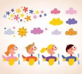 Kids in airplanes design elements set — Vetorial Stock