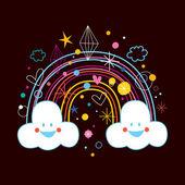 Cartoon rainbow clouds — Stock Vector