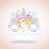 Cartoon rainbow clouds hearts diamonds — Stock Vector