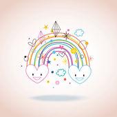 Rainbow hearts — Stock Vector