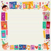 С днем рождения дети декоративная граница — Cтоковый вектор