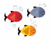 Three Fish — Stock Vector