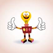 Light bulb robot cartoon character — Stok Vektör