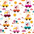 Kids driving toy cars pattern — Stock Vector #58830267