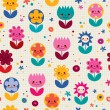 Happy cartoon flowers seamless pattern — Vecteur #58831043
