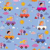 Cute kids driving cars pattern — Stockvektor