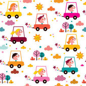 Kids driving toy cars pattern — Stock Vector