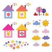 Cute animals in houses set — Stock Vector