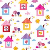 Cute animals in houses kids pattern — Stock Vector